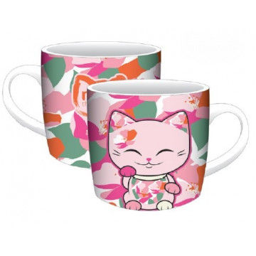 TAZZA PINK GREEN LUCKY CAT